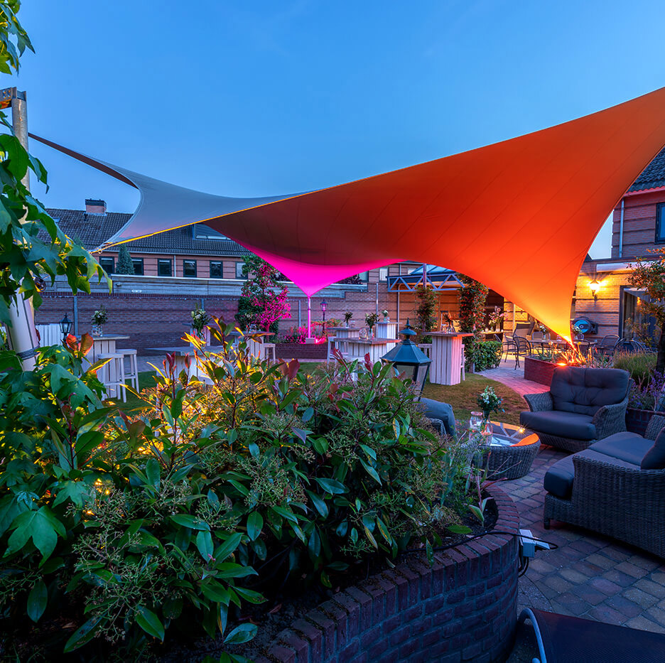 Stand-alone textile roof, extend your living space outdoors