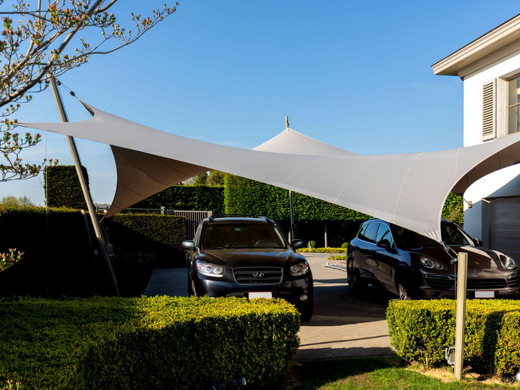 Protect your car in style with our textile roof carports
